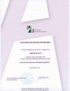 Architektas S. Klezys - kvalifikacija
